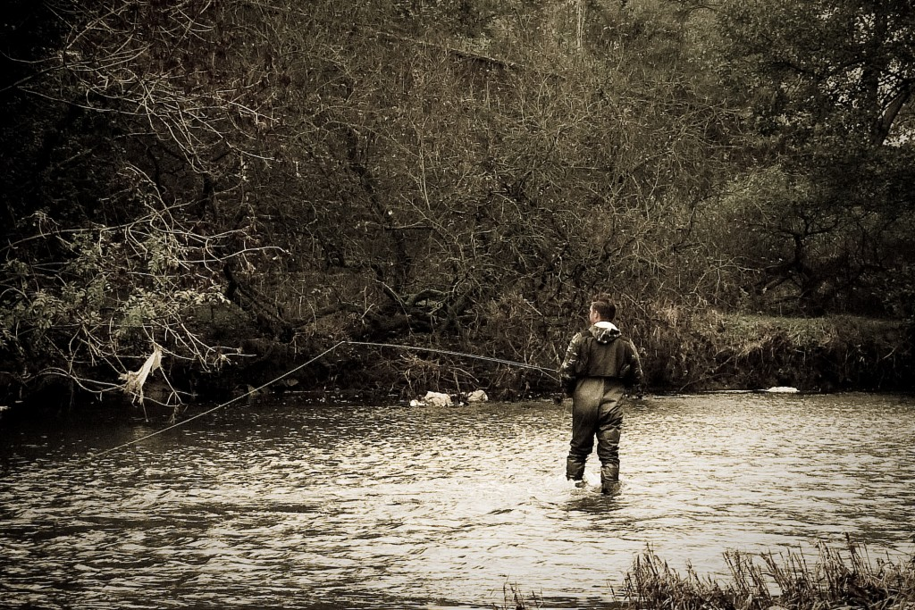 Fly fishing in a stream