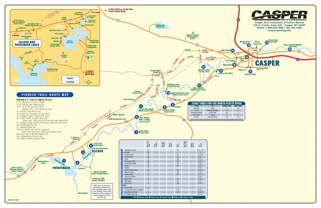 Map of fly fishing for North Platte River in Wyoming